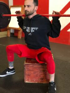 A box squat is a great way to help with balance of these new movements